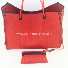 Red Neoprene Tote Beach Bags For Travel